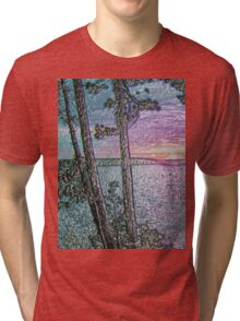 Lake Sunset-Colour Embossed -Available As Art Prints-Mugs,Cases,Duvets,T Shirts,Stickers,etc Tri-blend T-Shirt