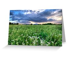 Tall Green and Clouds Greeting Card
