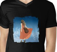Guitar Girl Mens V-Neck T-Shirt