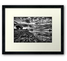 Up the Shoreline-B+W Framed Print