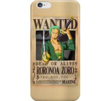 Roronoa Zoro wanted. 120 mil New worl iPhone Case/Skin