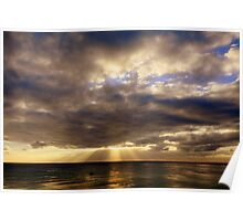 Sun rays over water Poster