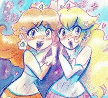 Peach and Daisy Watercolor by SaradaBoru
