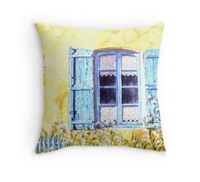 Blue shutters and cow parsley Throw Pillow