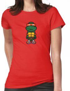 Orange Renaissance Turtle Womens Fitted T-Shirt