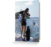 Grecian Scuba Diver Greeting Card