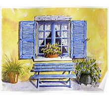 Blue shutters and bench Poster