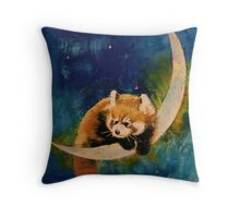 Red Panda Moon Throw Pillow