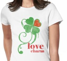 love charm (in red text) Womens Fitted T-Shirt