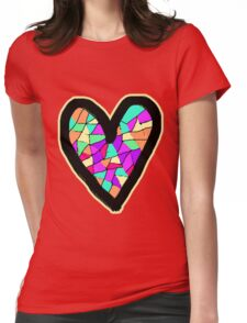 Mosaic Heart Womens Fitted T-Shirt