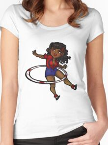 Rockabilly Hula Hoop Girl Women's Fitted Scoop T-Shirt