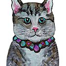 boy cat with bejewelled collar - hand painted by mark burban