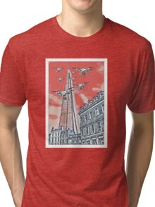 Drones leave the Shard nest in red by #fftw Tri-blend T-Shirt