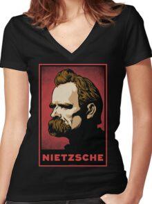 Nietzsche Print Women's Fitted V-Neck T-Shirt