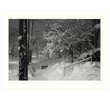High Street Snow Scene Art Print