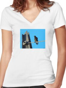 Sitting Pie Women's Fitted V-Neck T-Shirt