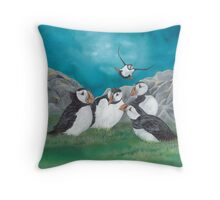 """Puffin Party"" Throw Pillow"