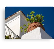 Contemplating Mediterranean Vacations - Red Tile Roofs and Terracotta Flowerpots Canvas Print