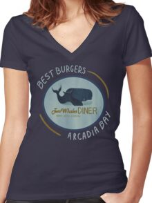 Two Whales Diner Women's Fitted V-Neck T-Shirt