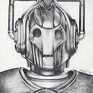 Cyberman Pencil Drawing by Chris Neal