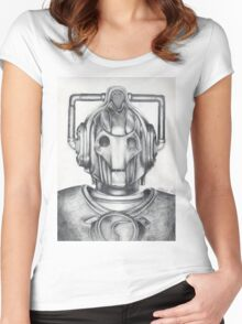 Cyberman Pencil Drawing Women's Fitted Scoop T-Shirt
