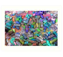 Pastel Chalks- sea tones Art Print