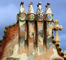 Tiled sculptures, Roof, Casa Batllo, Gaudi by artfulvistas