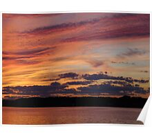 The Dance of Color In The Sky, A Magical Sunset on the River Poster