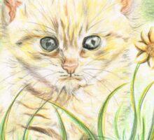 Kitty amongst the Flowers Sticker