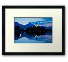 Dawn breaks over Lake Bled Framed Print