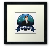 """I Want To Believe"" (Fox Mulder X-Files Design) Framed Print"