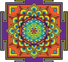Flower of Life Rainbow Mandala by GalacticMantra