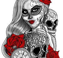 Day of the dead sugar skull girl with skulls rose & pocketwatch by GinjaNinja1801