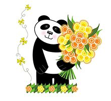 With Love Panda Card by Louise Parton
