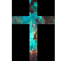 Green Galaxy Cross Photographic Print