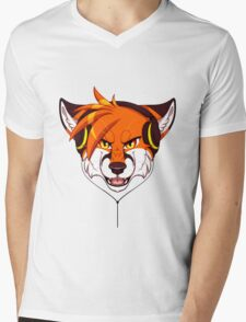 Headphone Fox Mens V-Neck T-Shirt