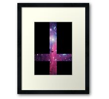 Purple Galaxy Inverted Cross Framed Print