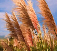 Long tall fluffy grass as pseudo oil painting by Sue Leonard