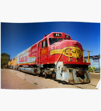 Santa Fe Train as pseudo oil painting Poster