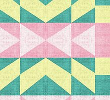 Vintage abstract pink yellow Texture chevron by Maria Fernandes