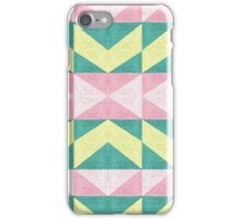 Vintage abstract pink yellow Texture chevron iPhone Case/Skin