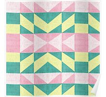 Vintage abstract pink yellow Texture chevron Poster