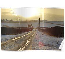 Snowy Scottish Lane Poster