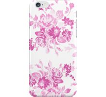 Vintage girly pink white flowers painting iPhone Case/Skin