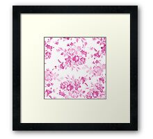 Vintage girly pink white flowers painting Framed Print