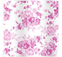 Vintage girly pink white flowers painting Poster