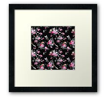 Vintage chic pink gray black flowers pattern Framed Print