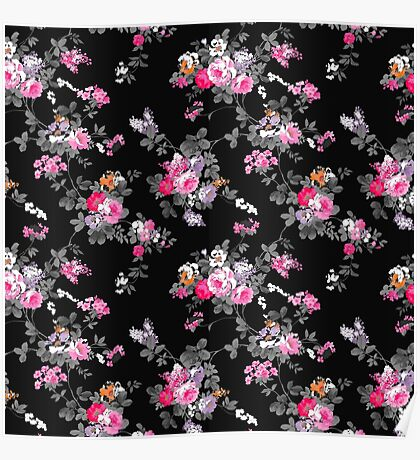 Vintage chic pink gray black flowers pattern Poster