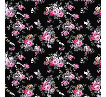 Vintage chic pink gray black flowers pattern Photographic Print