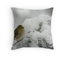 American Goldfinch in Snow Storm Throw Pillow